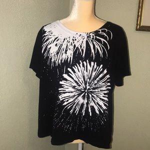 Lane Bryant Black Embellished T-Shirt Size 14/16